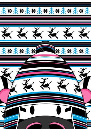 wooly: Cute Cartoon Wooly hat Zebra Illustration