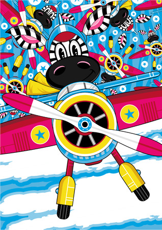 Cute Cartoon Zebra Pilot Flying Plane