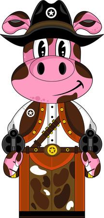 Cute Cartoon Wild West Pig Cowboy Sheriff Illustration