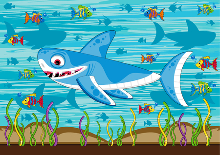 Cute Cartoon Shark and Tropical Fish