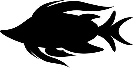 Cartoon Tropical Fish Silhouette