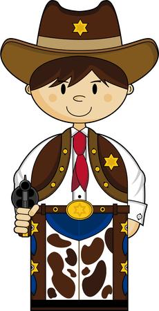 Cartoon Wild West Cowboy Sheriff