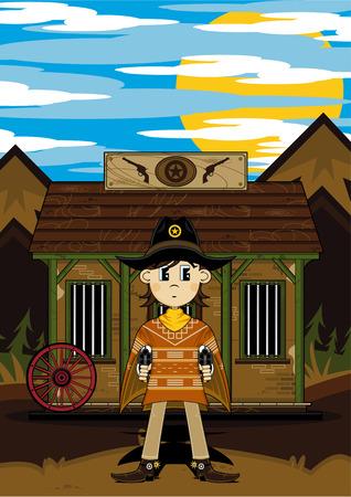 Cartoon Wild West Cowboy Sheriff at Jail