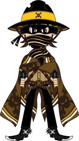 Cartoon Masked Wild West Cowboy Outlaw Illustration
