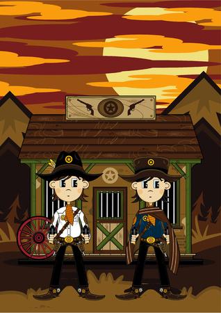 sheriffs: Cartoon Wild West Cowboy Sheriffs at Jail Illustration