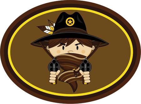 Cute Cartoon Wild West Cowboy Sheriff