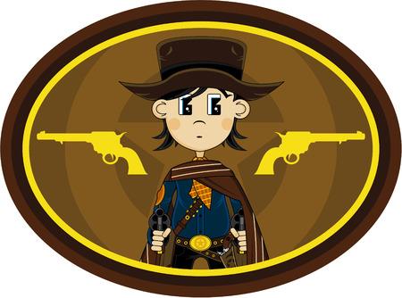 Cute Cartoon Wild West Cowboy Outlaw Illustration