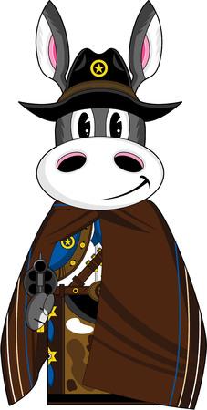 귀여운 만화 와일드 웨스트 당나귀 카우보이 보안관
