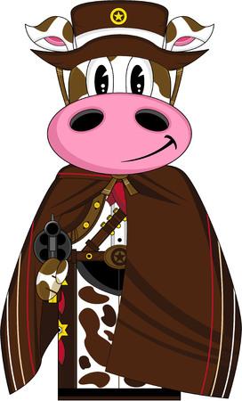 Cute Cartoon Wild West Cow Cowboy Sheriff