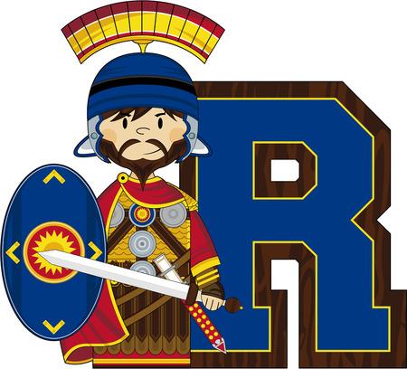 R is for Roman Alphabet Learning Illustration