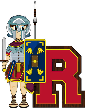 roman empire: R is for Roman Alphabet Learning Illustration