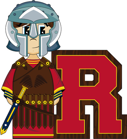 roman soldier: R is for Roman Alphabet Learning Illustration
