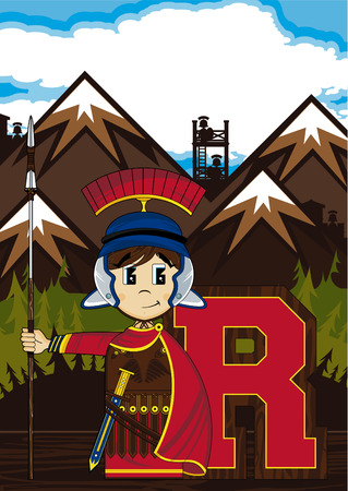 roman alphabet: R is for Roman Alphabet Learning Illustration