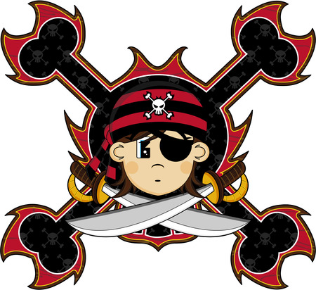 Cute cartoon eye patch pirate kid on a white color.