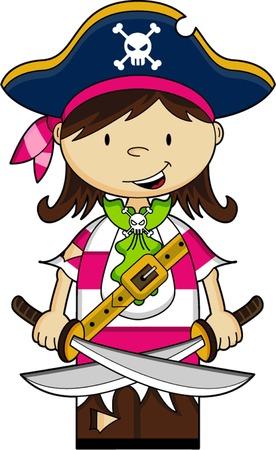 cute girl: Cute Cartoon Pirate Captain Girl