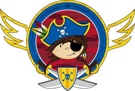 Cute cartoon eye patch pirate captain