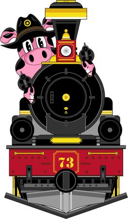 Cartoon Wild West Pig Cowboy Sheriff and Train