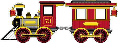 Cartoon Vintage Wild West trein en wagen Stockfoto - 73852431