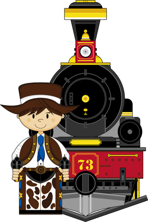 Cartoon Wild West Cowboy Outlaw and Train Illustration