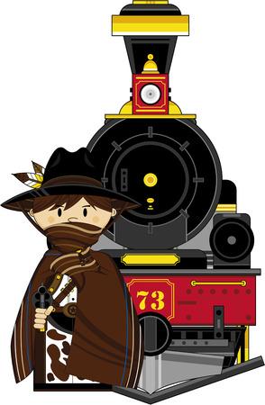 Cartoon Wild West Cowboy Outlaw and Train Illustration