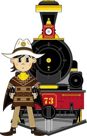 Cartoon Wild West Cowboy Sheriff and Train