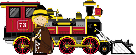 outlaw: Cartoon Wild West Cowboy Outlaw and Train Illustration