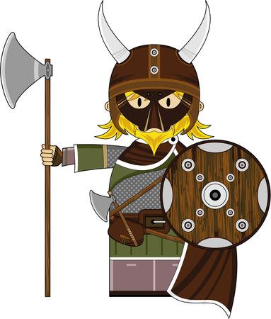 Cute Cartoon Fierce Viking Warrior Illustration