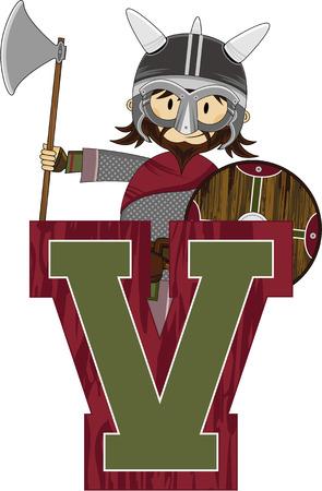 V is for Viking Learning Illustration