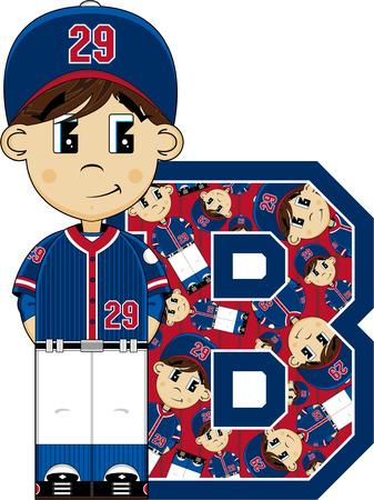 B is for Baseball Alphabet Learning Illustration