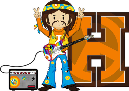 amp: H is for Hippie Alphabet Learning Illustration