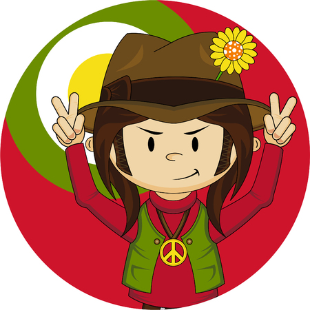 Cute Cartoon Flower Power Hippie Illustration