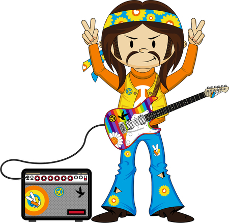 Cute Cartoon Flower Power Hippie Guitarist