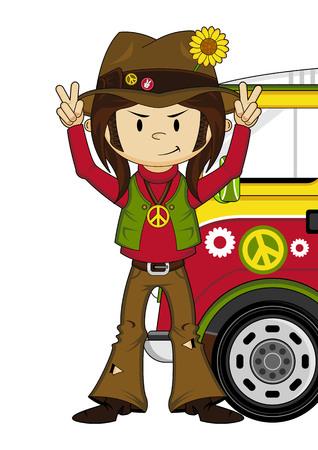 Cute Cartoon Flower Power Hippie and Van