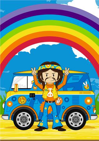 subculture: Cute Cartoon Flower Power Hippie and Van