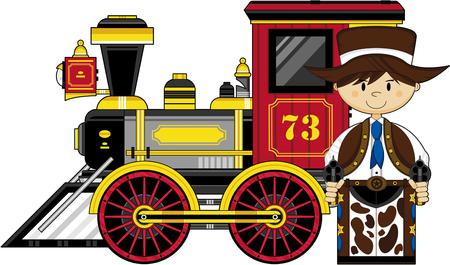 Cute Cartoon Cowboy and Steam Train
