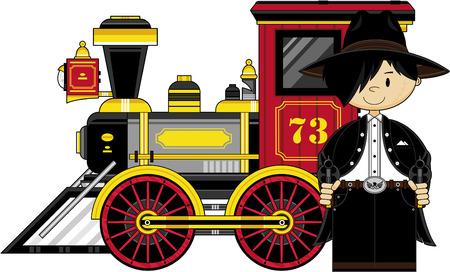 Creative design of a cute Cartoon Cowboy and Steam Train.