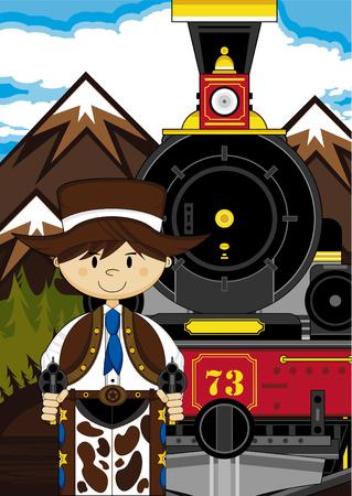 Creative design of a Cartoon Cowboy and Steam Train.