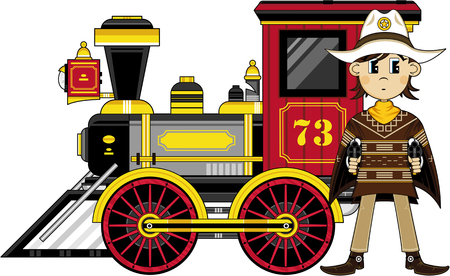 Artistic design of a Cute Cartoon Cowboy and Steam Train.