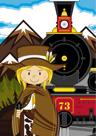 Artistic design of a Cowboy and Steam Train.