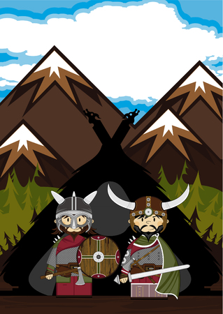 Cute Cartoon Fierce Viking Warriors and Hut