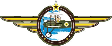 Cartoon Pilot and Biplane