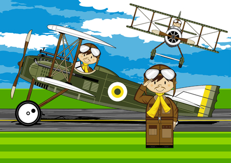 airstrip: Simple illustration of a Cartoon Pilot and Biplane