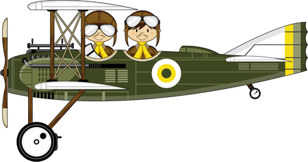 Cute illustration of a Cartoon Pilots and Biplane