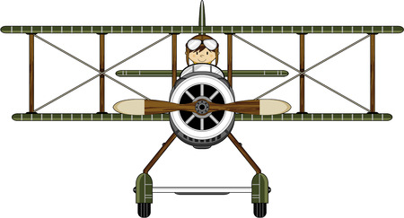 cute illustration of aCartoon Pilot and Biplane