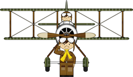 Flying Cartoon Pilots and Biplane