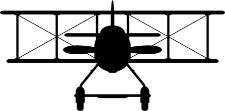 Classic Biplane Silhouette Illustration
