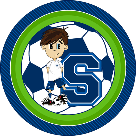 footy: S is for Soccer - Football Player Cartoon Illustration