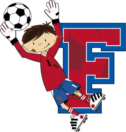 striker: F is for Football Alphabet Learning Illustration