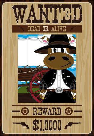 Cartoon Wild West Cowboy Wanted Poster Illusztráció
