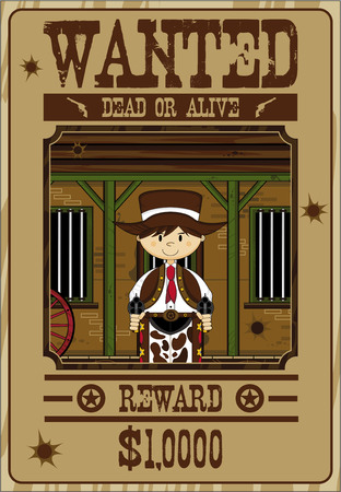 Cartoon Wild West Cowboy Wanted Poster 向量圖像